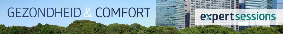 Banner met afbeelding van bos met een stad op de achtergrond