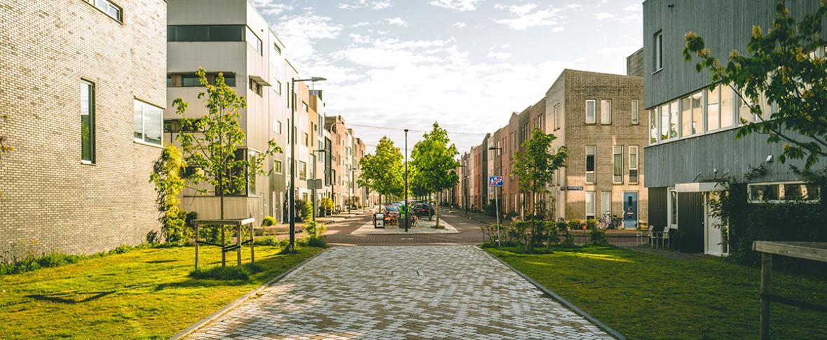 Foto van een moderne groene stadsomgeving