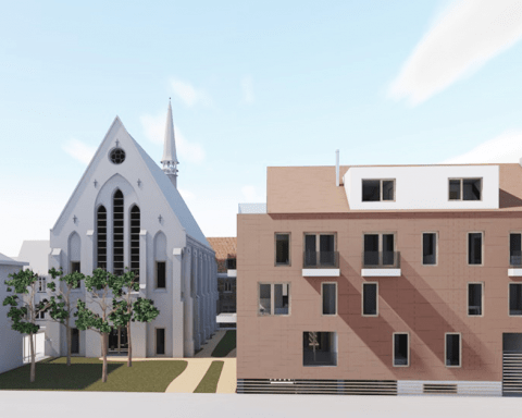 Grafische voorstelling van de kerk een omringende gebouwen die herbestemd zullen worden als co-housing.