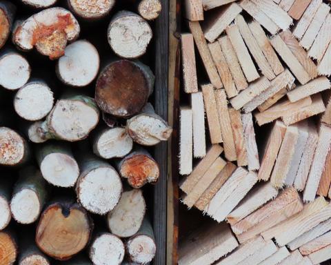 Foto van gestapelde boomstammetjes naast gestapelde planken