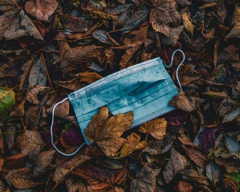 Foto van een vuil mondmasker tussen herfstbladeren
