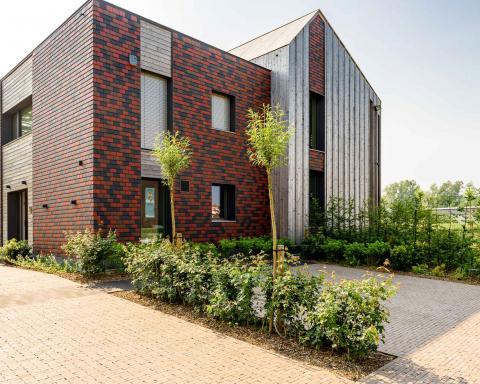 Voorgevel passiefwoning Overijse, 5+ Architecten bvba.